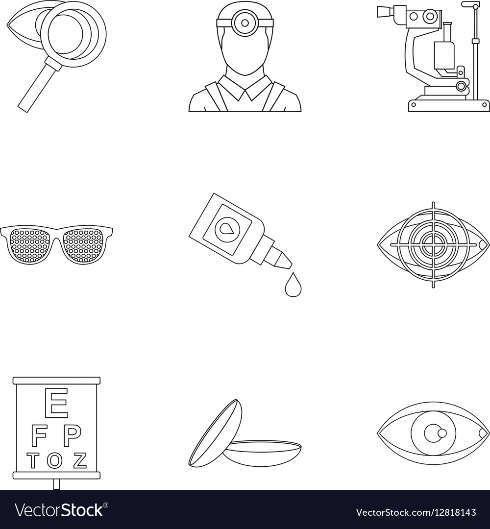 Vision icons set outline style