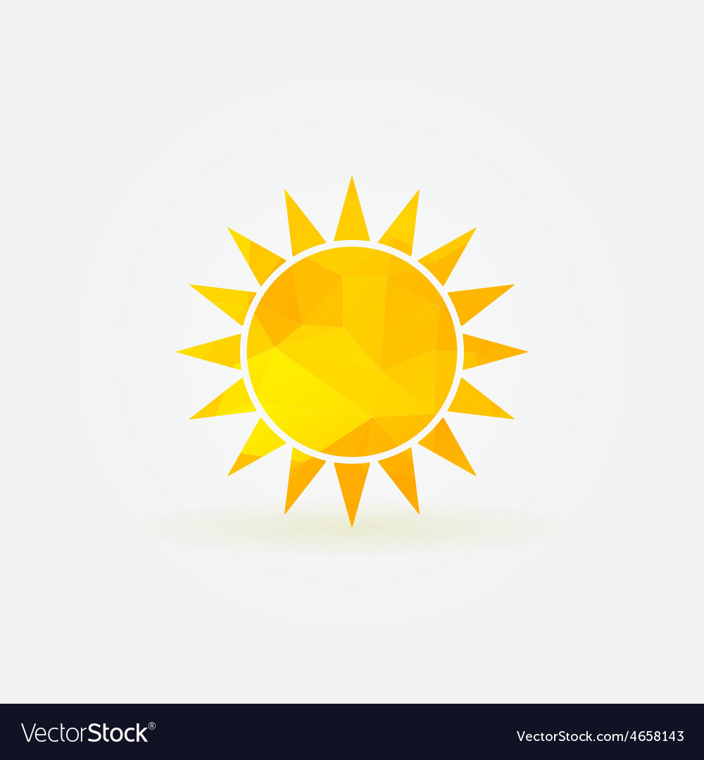 Yellow sun polygonal logo or poly icon vector image