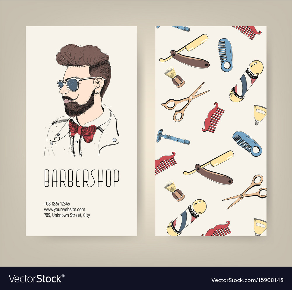 Barbershop flyer with barber tools and trendy man