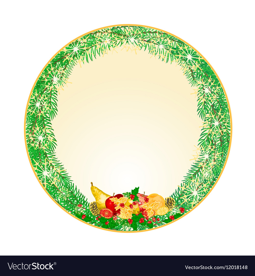 Button circular Christmas Spruce with fruit vector image