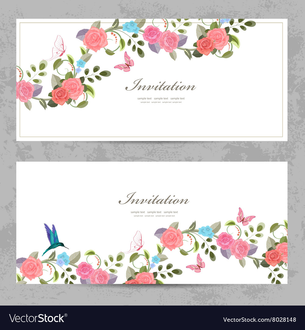 Cute floral invitation cards for your design