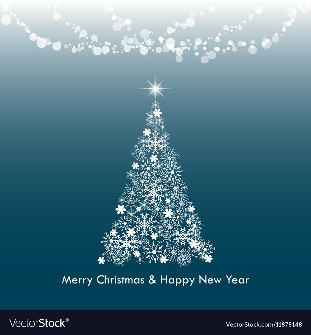 Dark blue Merry Christmas greeting light tree