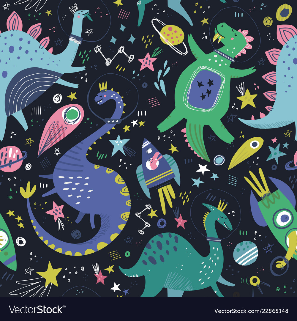 Dinosaurs in space hand drawn color