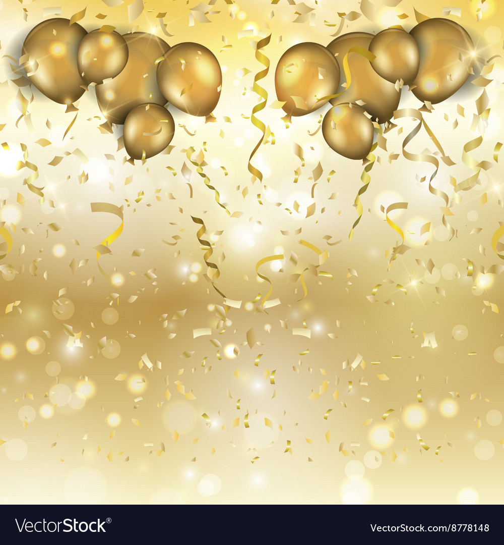 Gold balloons and confetti background 0305