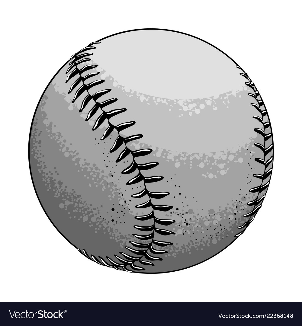 Hand drawn sketch baseball ball in black and white