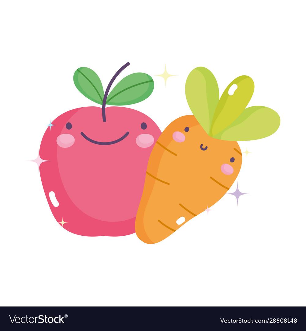 Kawaii gardening cartoon happy apple and carrot