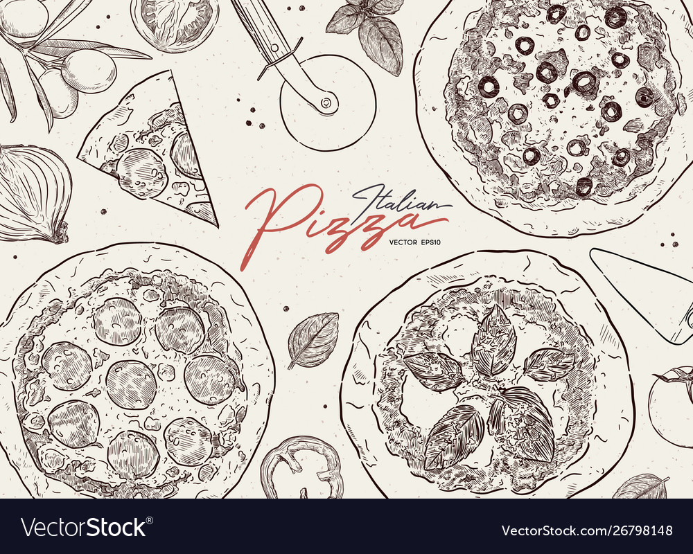 Pizza cafe design template pizza ingredients