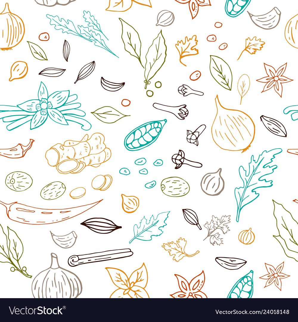 Seamless hand drawn pattern with different