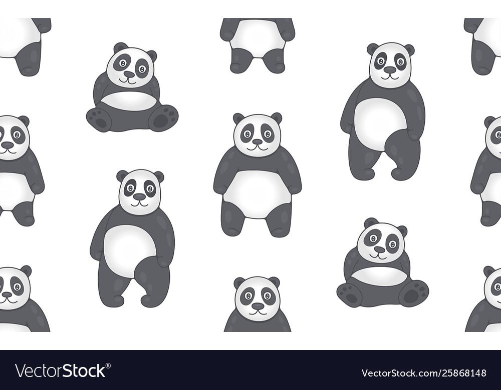 Seamless pattern with pandas