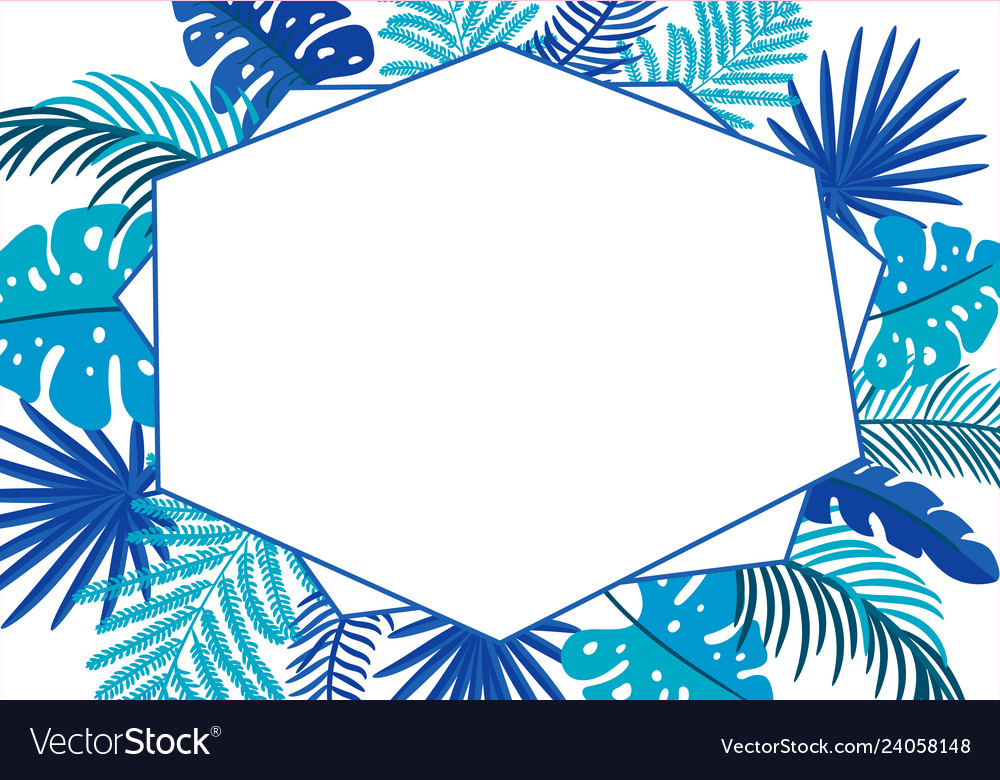 Summer floral abstract leaves frame