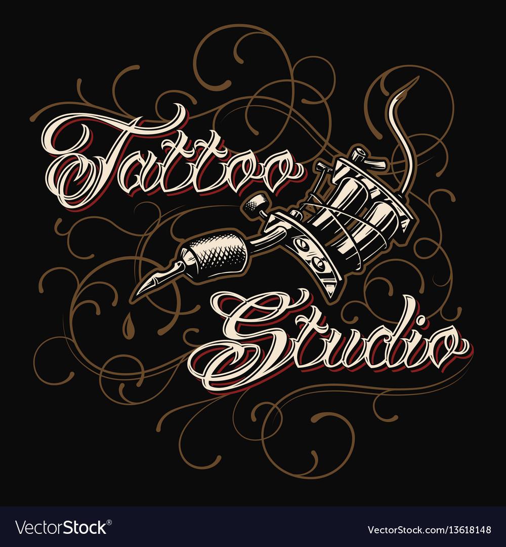 Tattoo studio emblem with tattoo machine