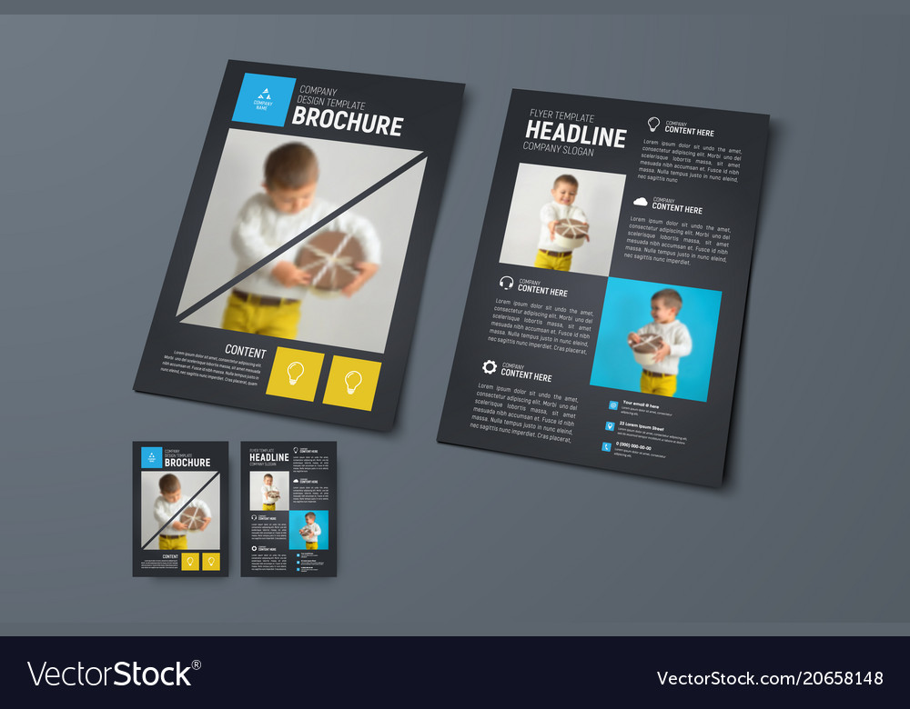 Template of a universal brochure with square and vector image