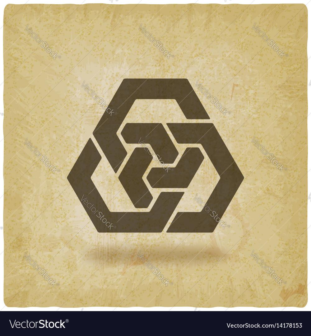 Abstract interlocking hexagons vintage background