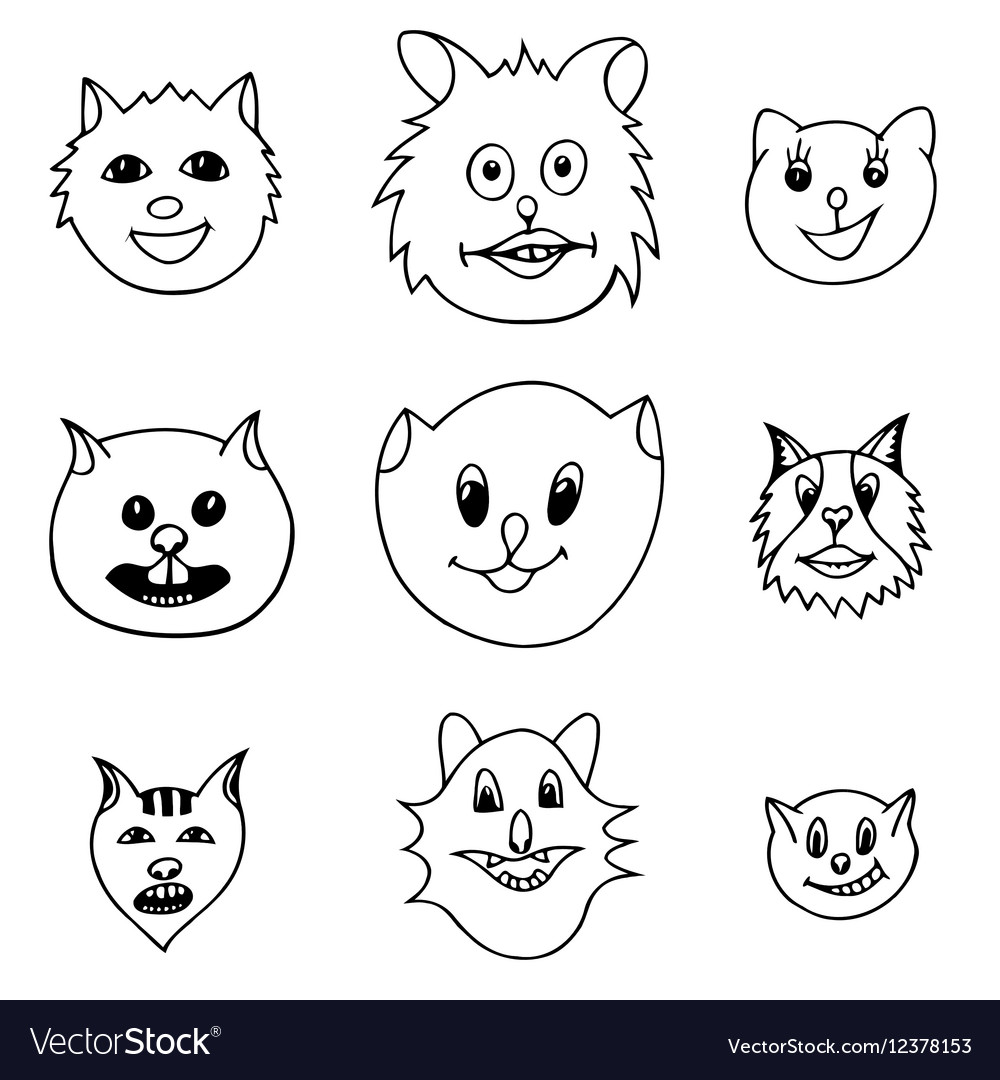 Adorable Cartoon Cats Faces Royalty Free Vector Image