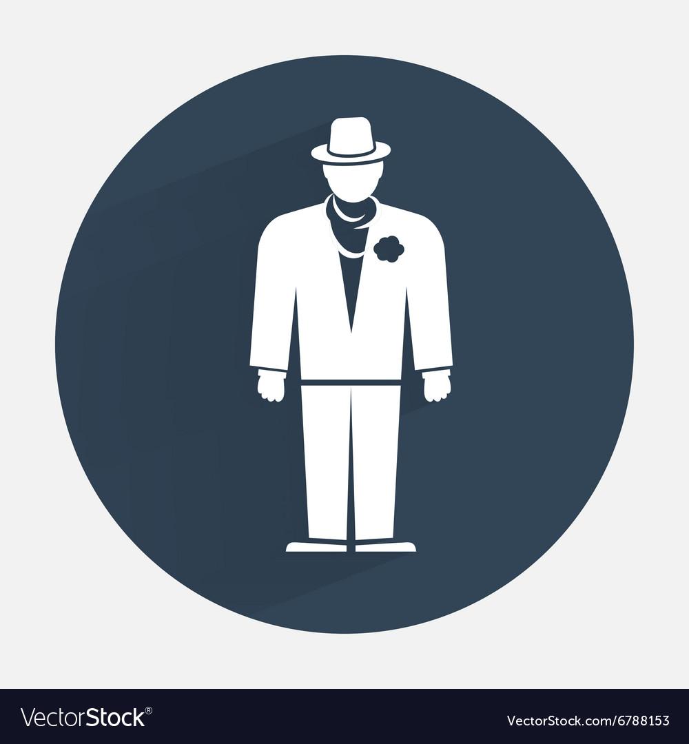 Businessman icon Mafia gangster silhouette symbol