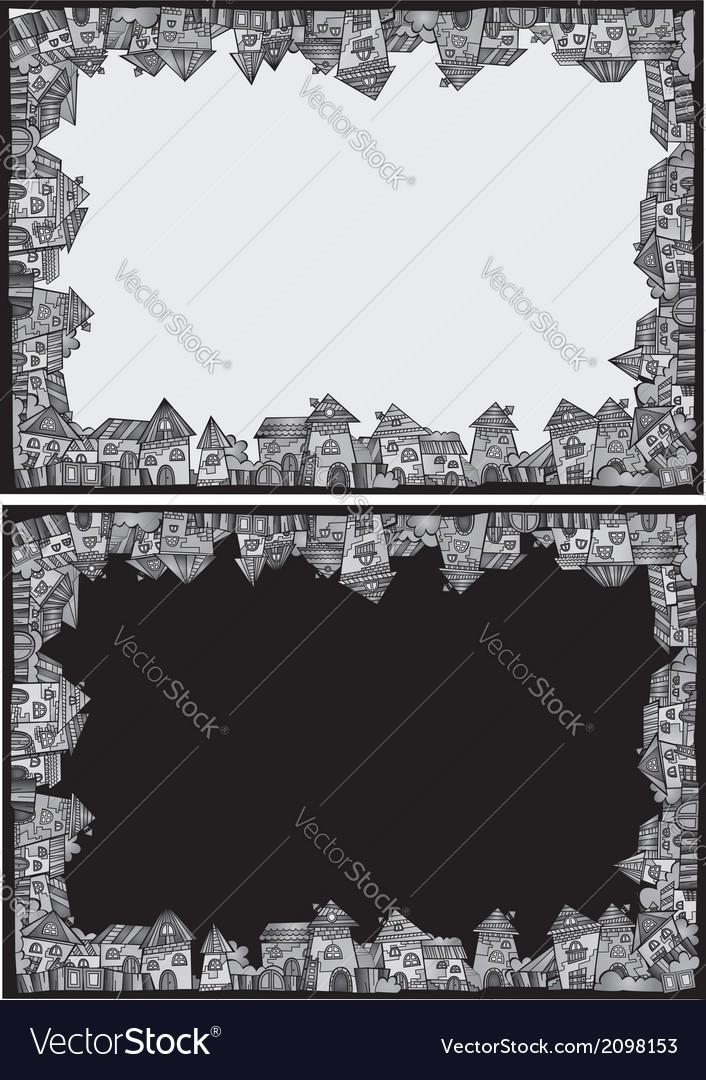 Cartoon construction town border set vector image