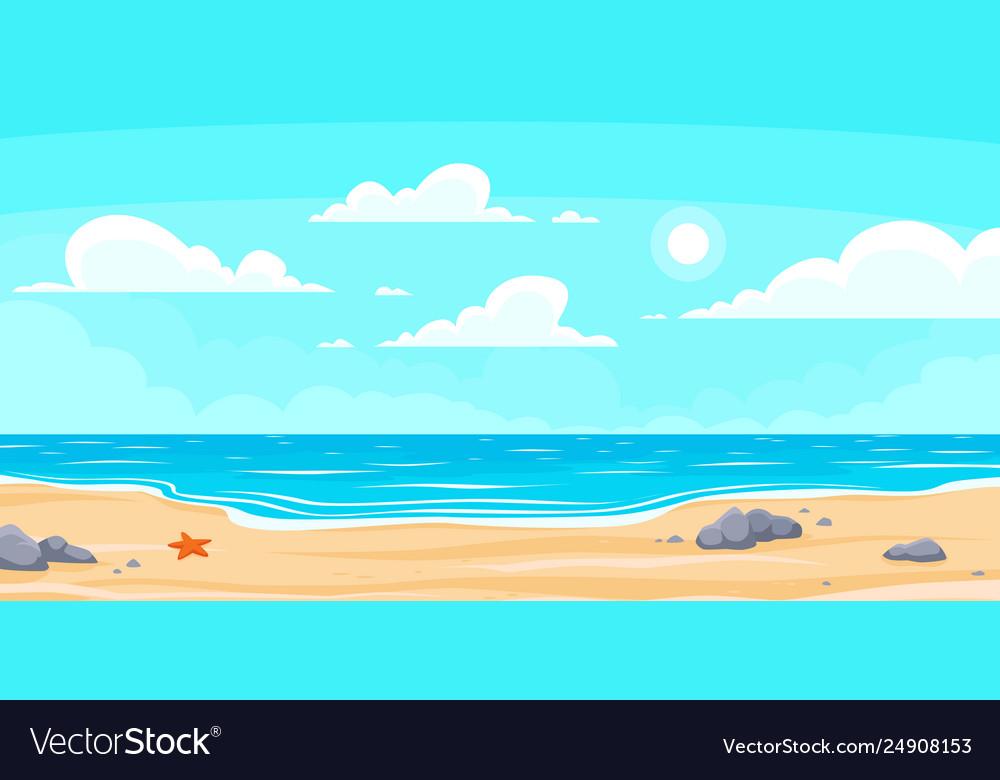 Cartoon summer beach paradise nature vacation
