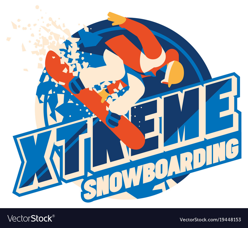 Freeride snowboarder in motion sport logo or