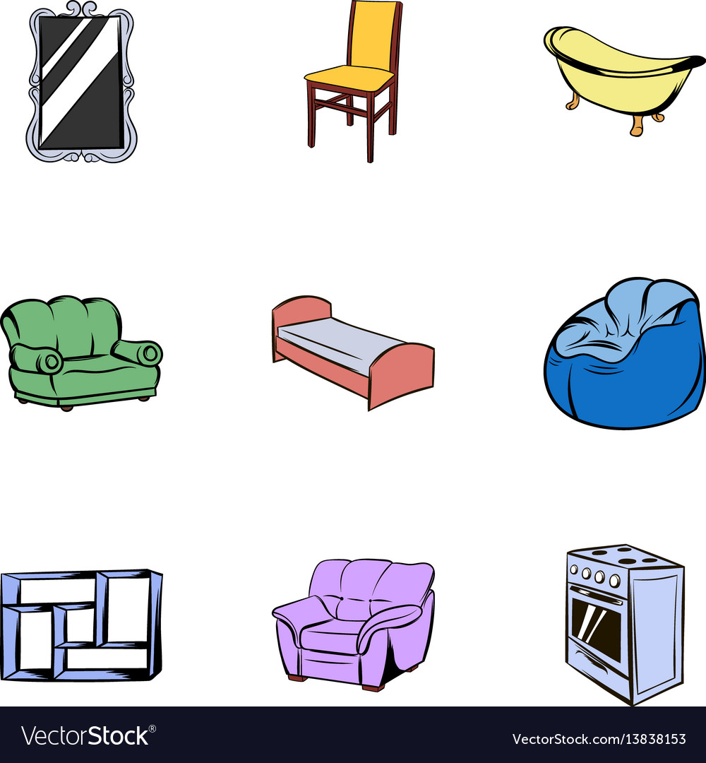 Furniture icons set cartoon style