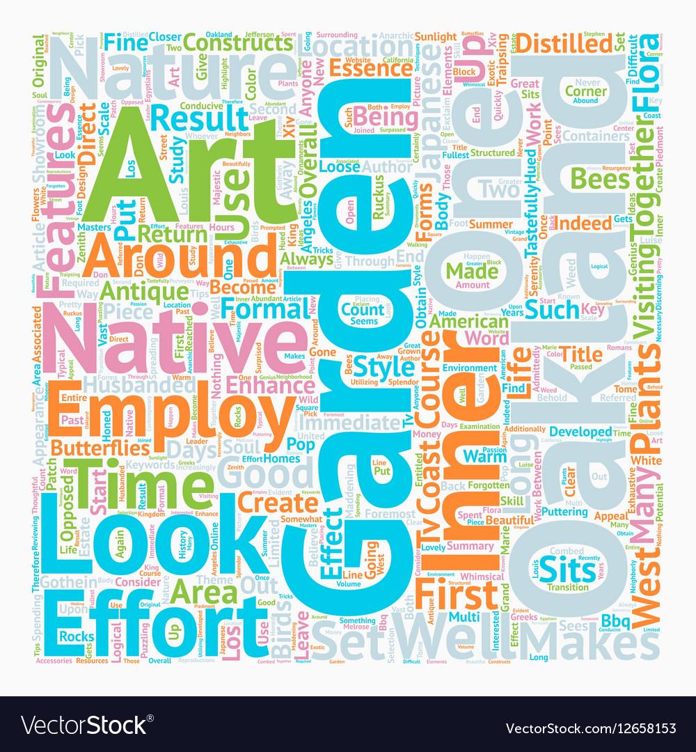 Native Flora Art an Oakland Garden Makes text vector image