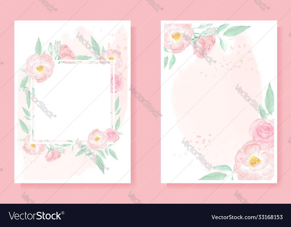 Watercolor pink wild rose on pink splash