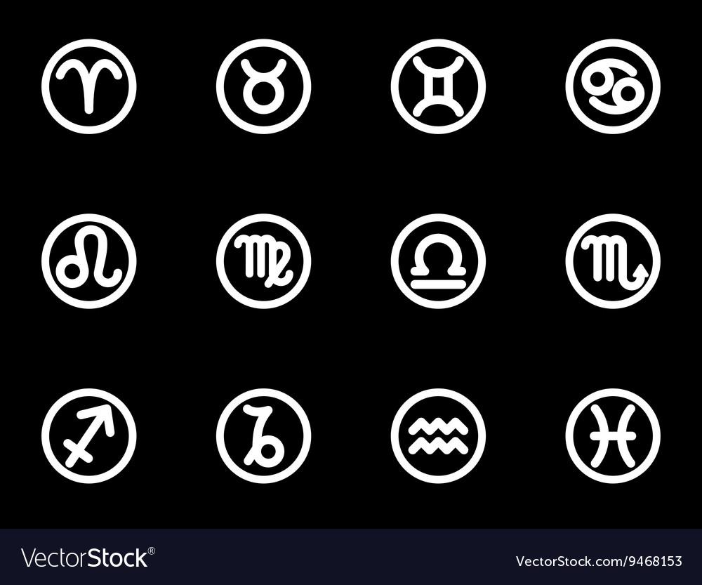 White Zodiac Symbols Icon Set Royalty Free Vector Image