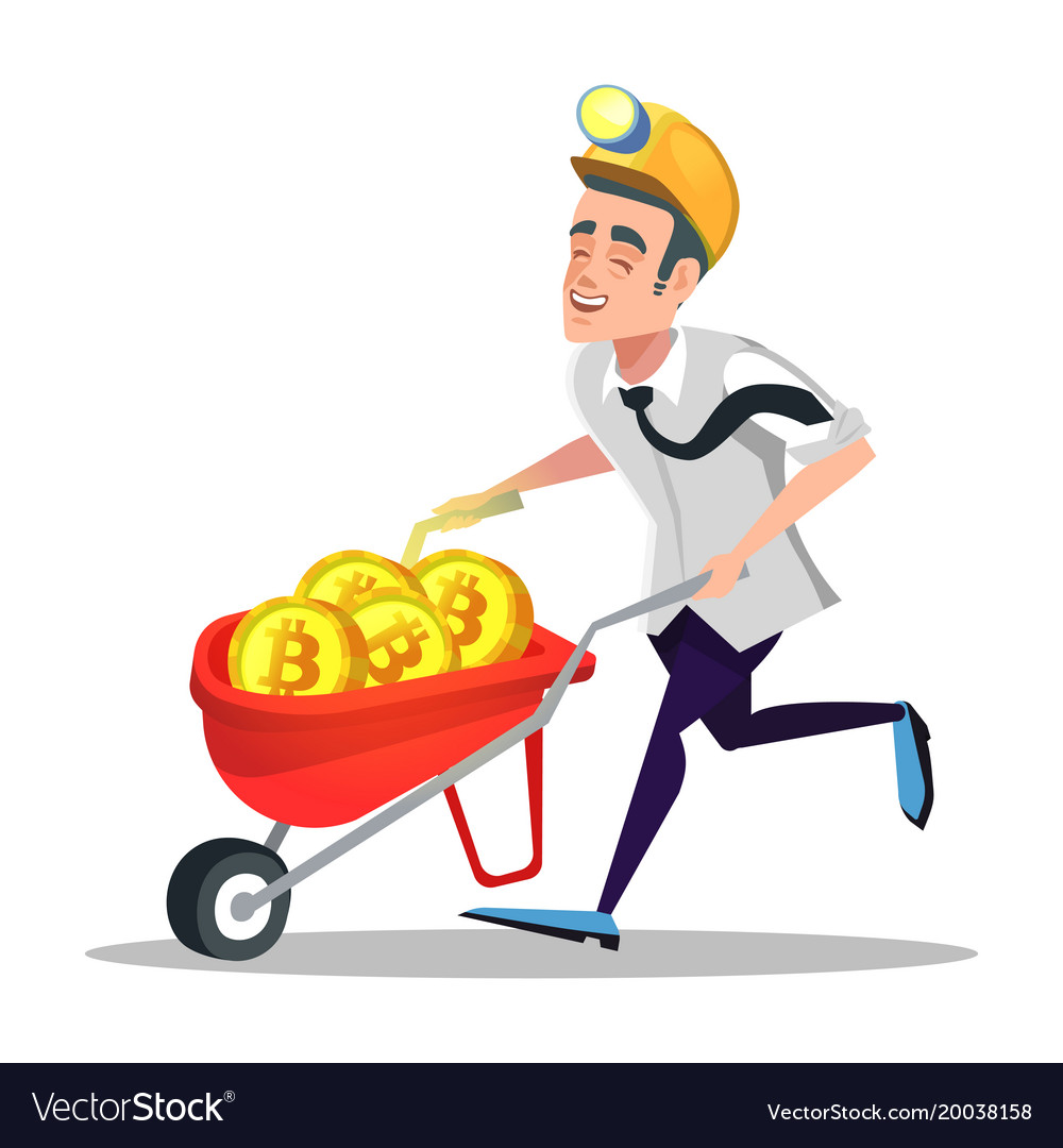 Bitcoin miner with pushcart full of golden coins
