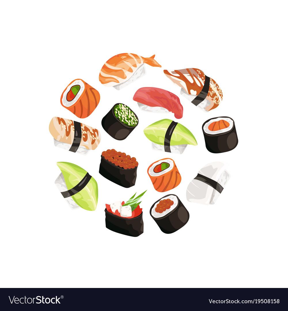 Cartoon sushi types circle concept