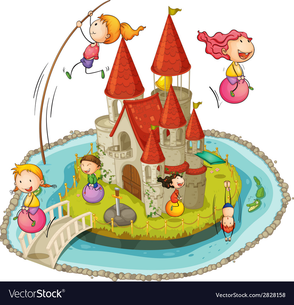 Castle and children vector image