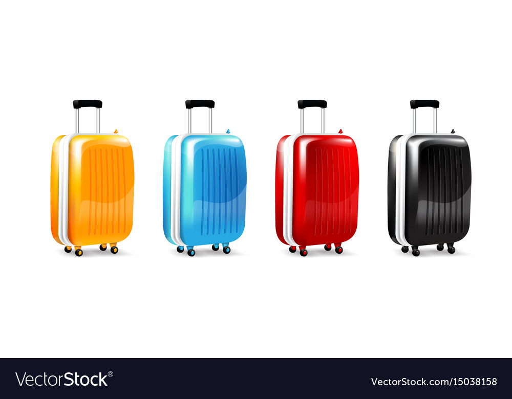 Collection of four color luggage travel case