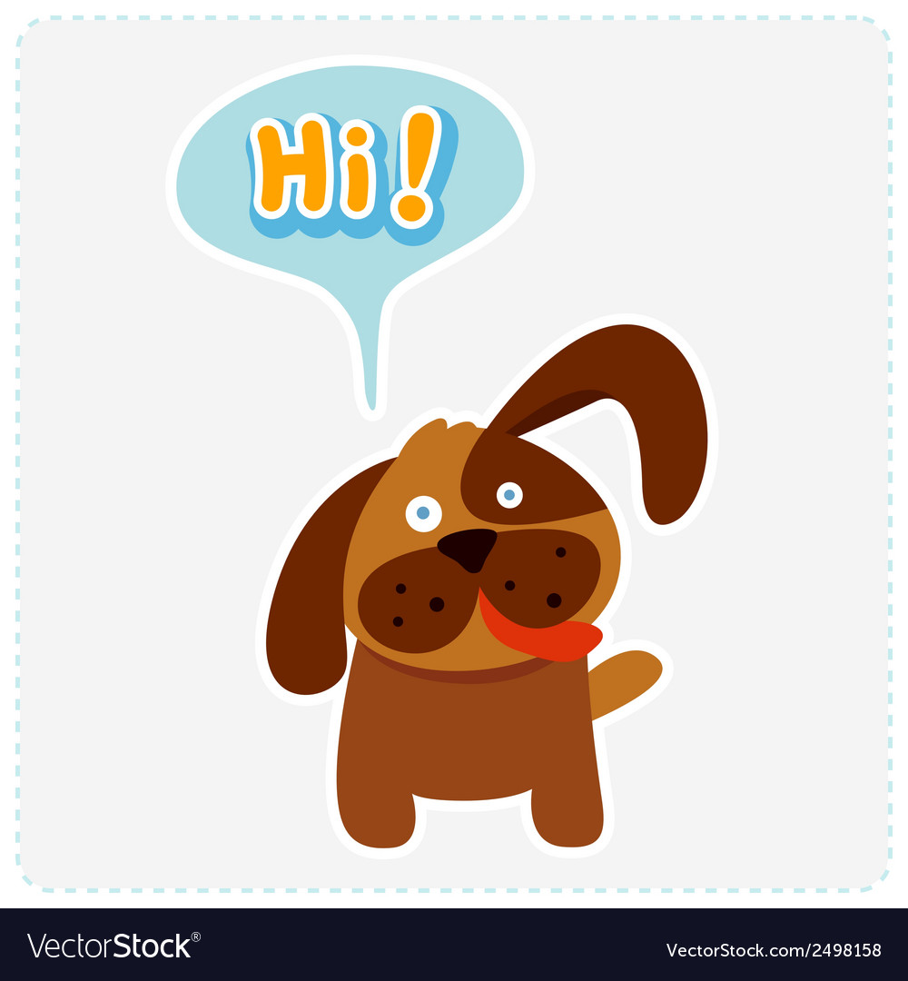 Cute cartoon dog and a speaking bubble Royalty Free Vector