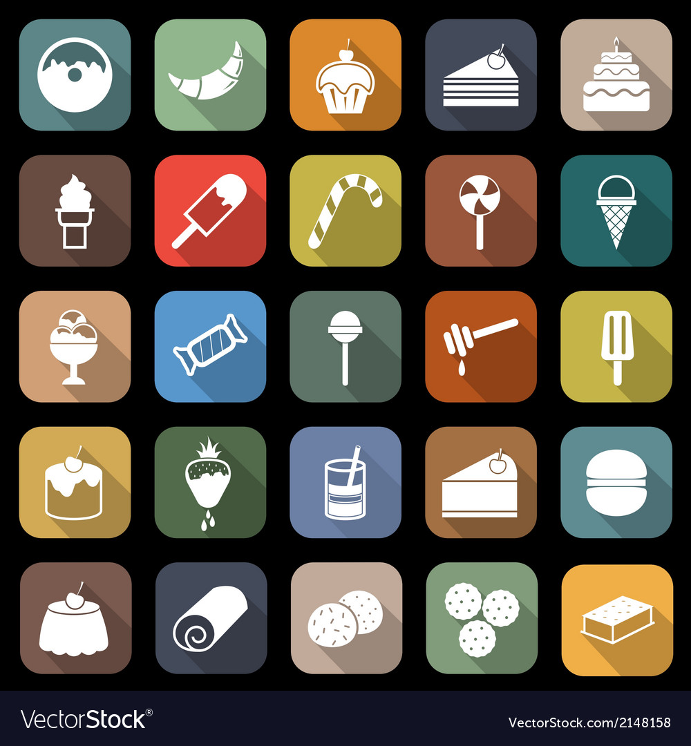 Dessert flat icons with long shadow