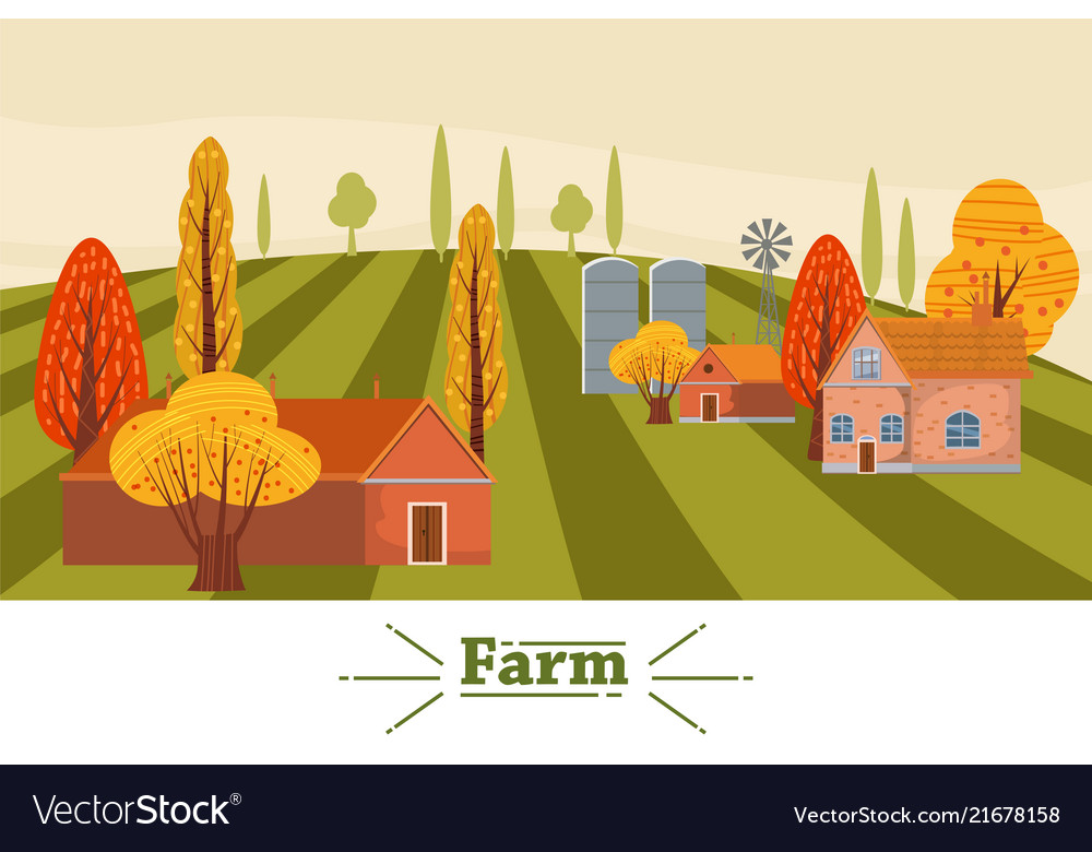 Farm modern flat cartoon design style
