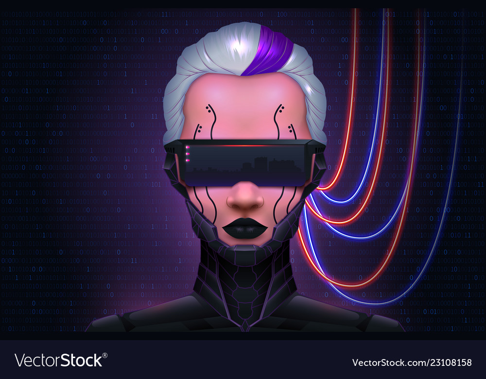 Girl cyberpunk technology of the future cyber mind