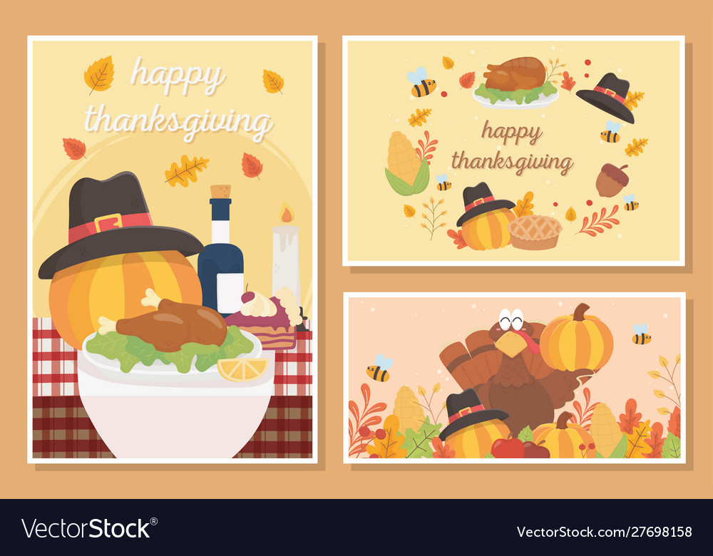 Happy thanksgiving celebration card food turkey