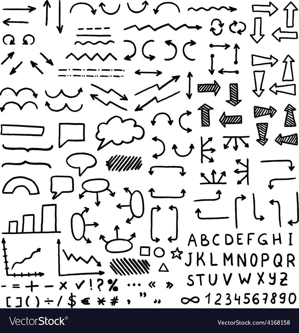 Huge set of hand drawn elements