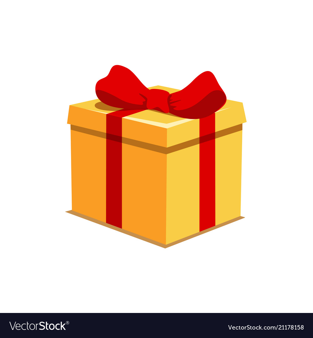 Orange present box with red bow for holiday or