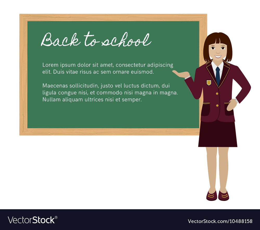 School girl presenting something on chalkboard