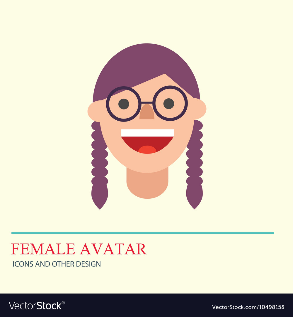 Smiley woman avatar icon in flat style vector image