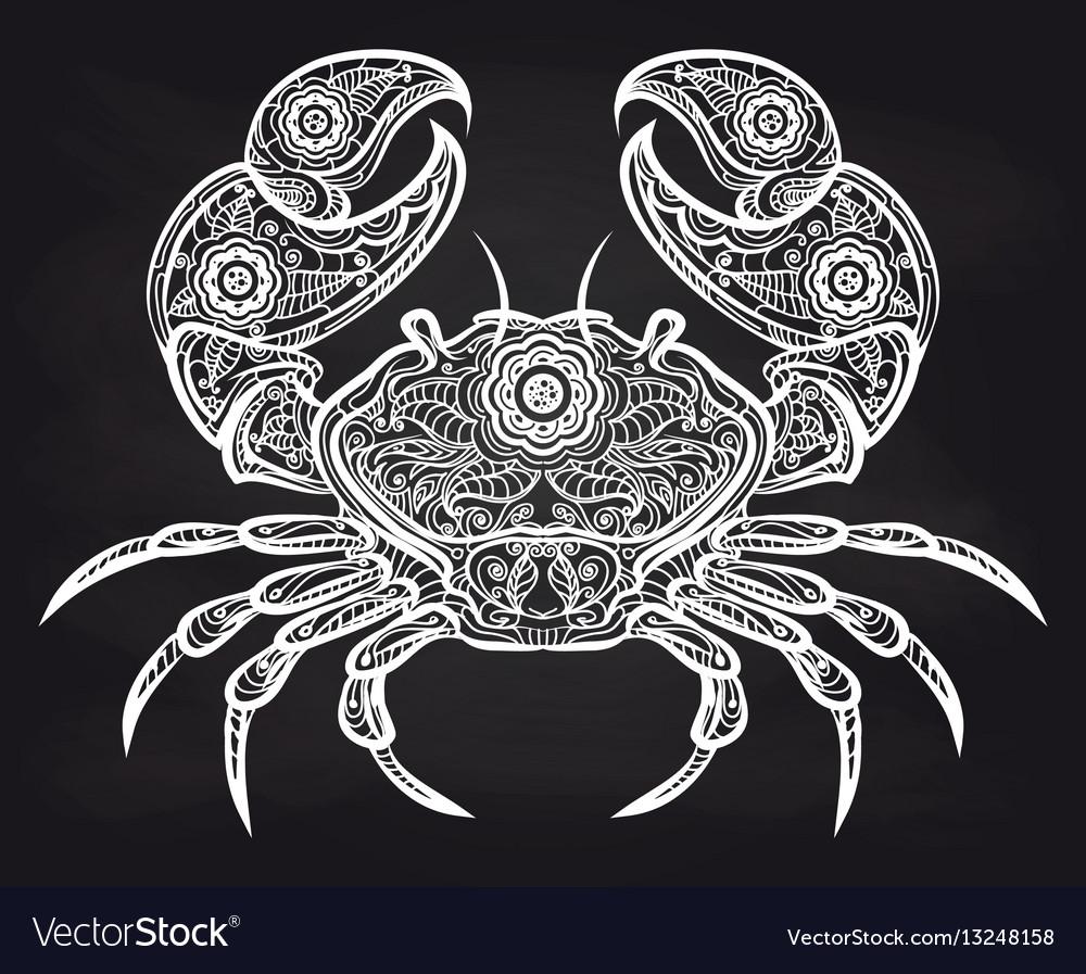 Vintage ornate crab on blackboard