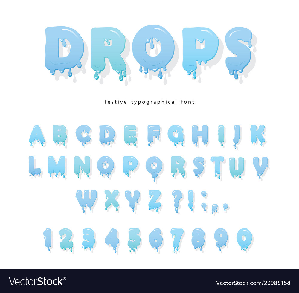 Water drops font design transparent glossy abc