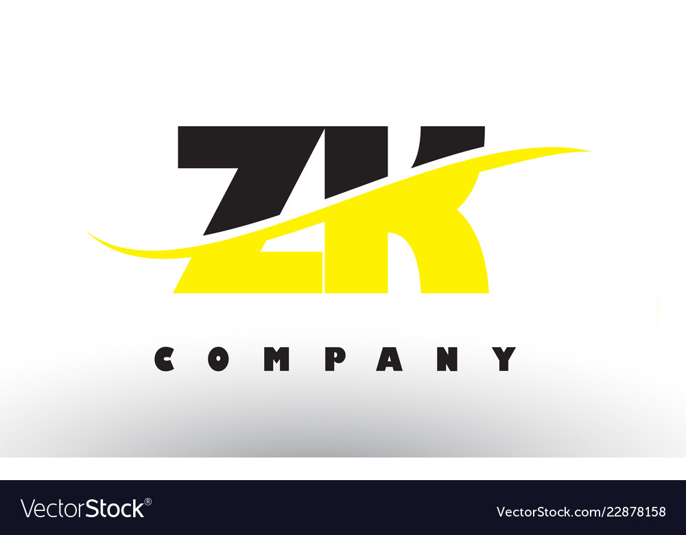 Zk z k black and yellow letter logo with swoosh