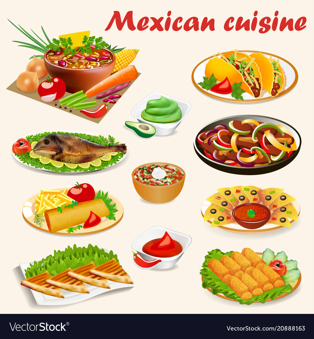 A set of mexican cuisine dishes with soup dorado