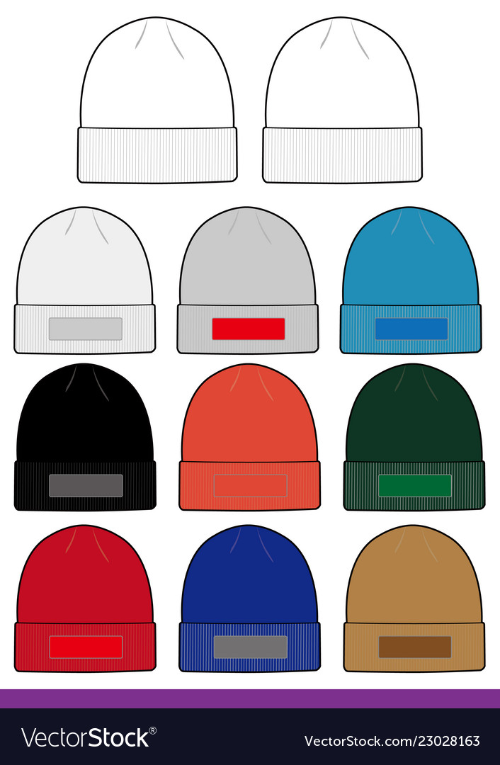 Beanie Design Fashion Technical Drawing Royalty Free Vector