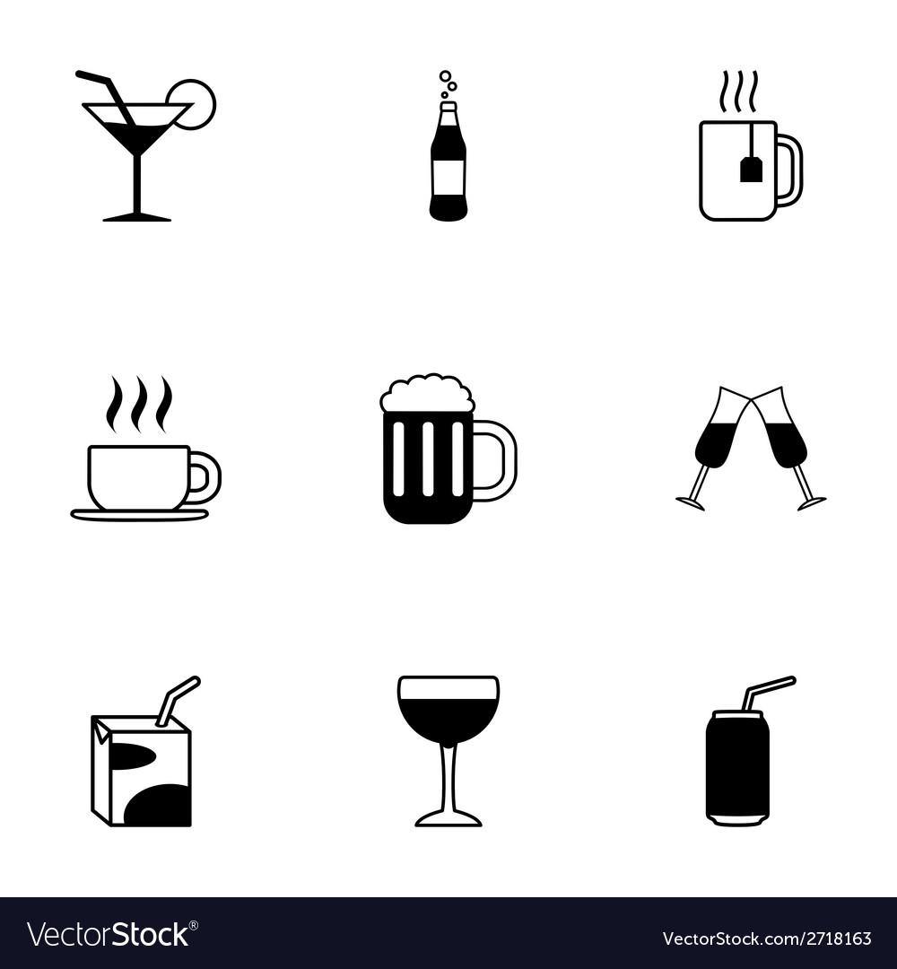 Black beverages icons set