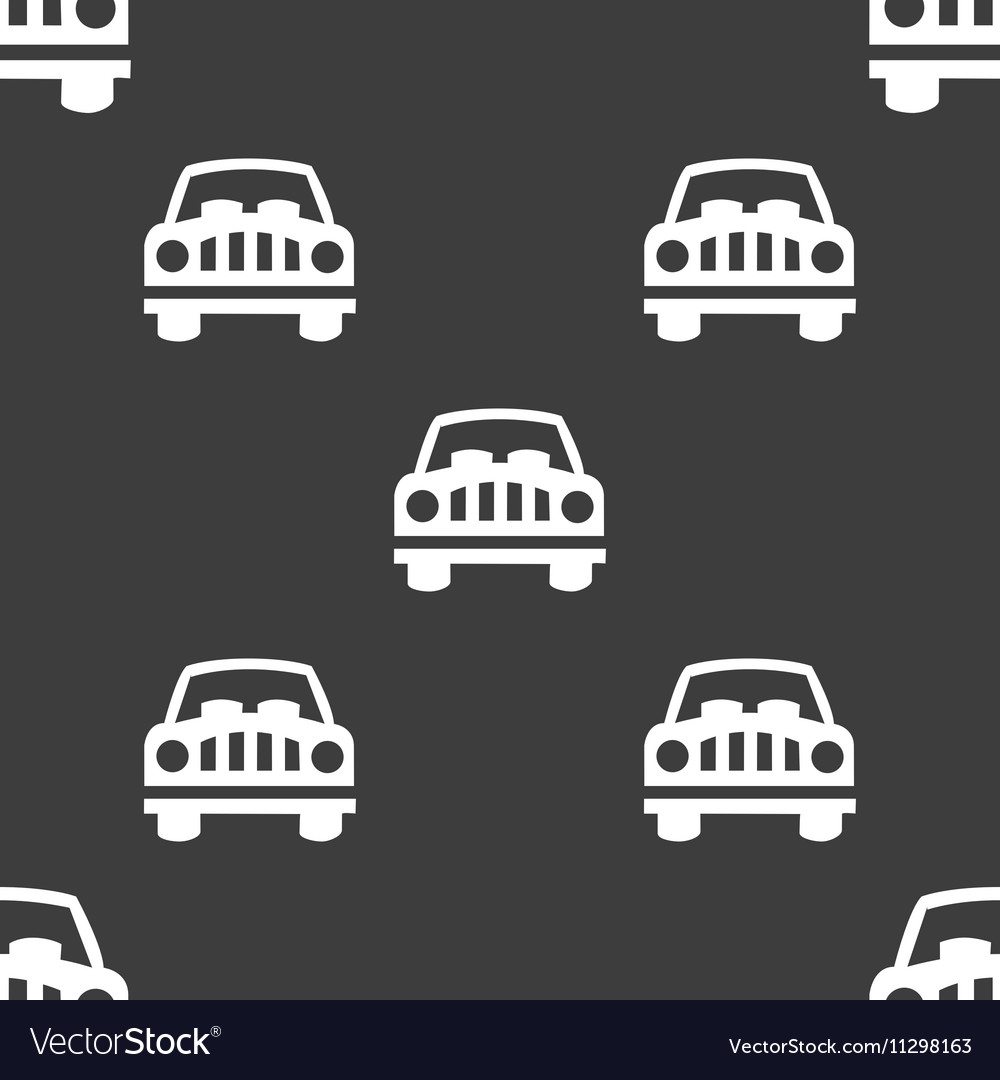 Car Icon sign Seamless pattern on a gray