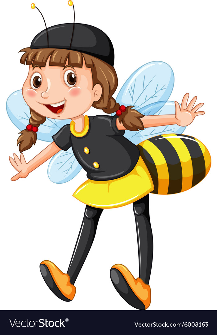 Girl in bee costume