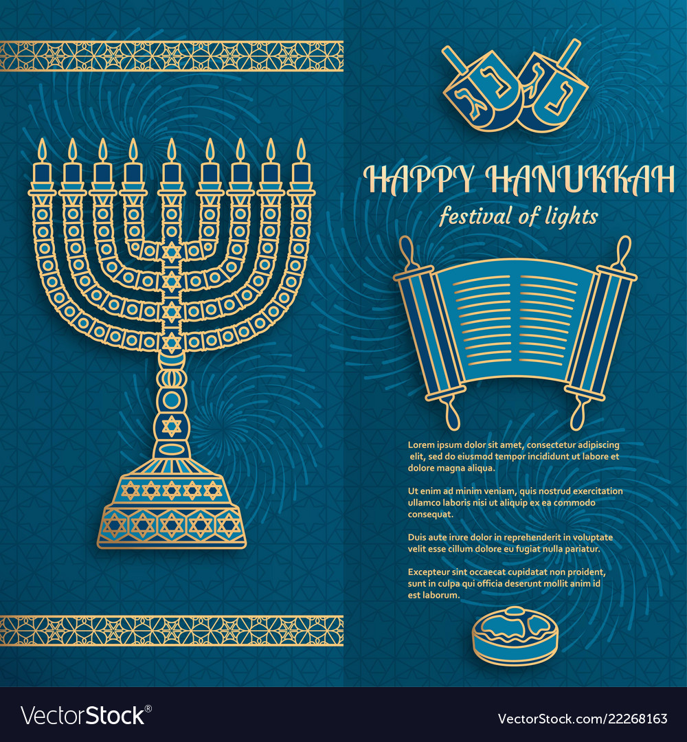 Hanukkah greeting card with torah menorah and vector image m4hsunfo