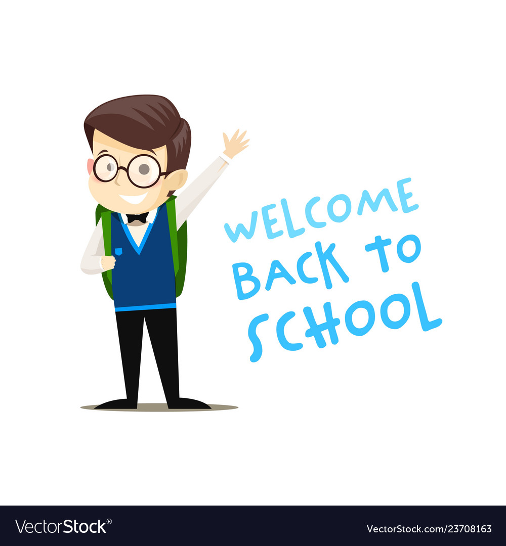 Happy schoolboy with backpack welcomes all