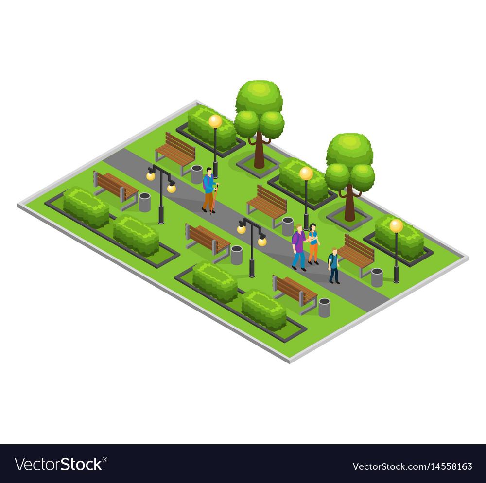 Isometric city park concept vector image